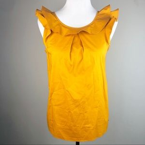 NWT J. Crew Factory Ruffle Neck Tank In Gold 2